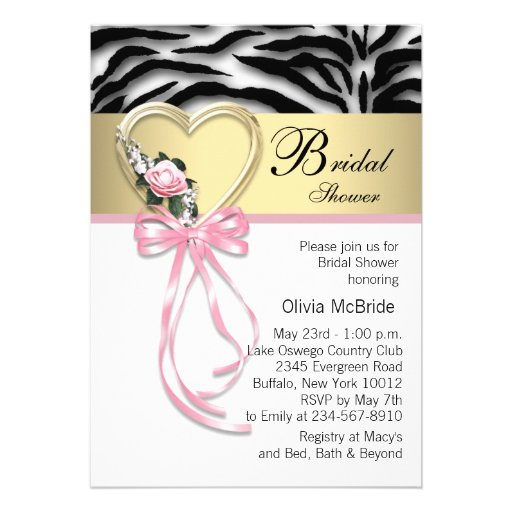 Pink Zebra Black Gold Zebra Bridal Shower Personalized Invitation