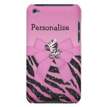 Pink Zebra, Bow & Glitter Animal  iPod Case-Mate Case