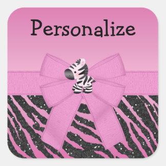 Pink Zebra, Bow & Glitter Animal Print Stickers