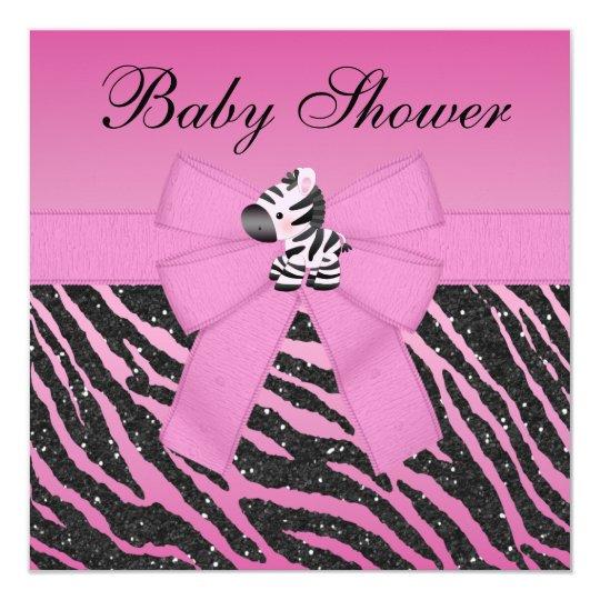 Pink Zebra & Butterflies Faux Glitter Baby Shower Card