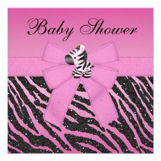 Pink Zebra & Butterflies Faux Glitter Baby Shower Invitation