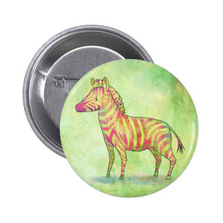 Pink zebra button(customizable) pinback button