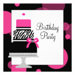 Pink Zebra Cake Cupcake Birthday Party Personalized Invites