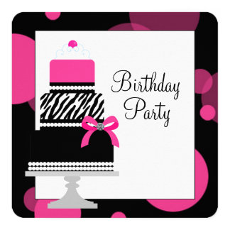 Pink Zebra Cake Cupcake Birthday Party Personalized Invites
