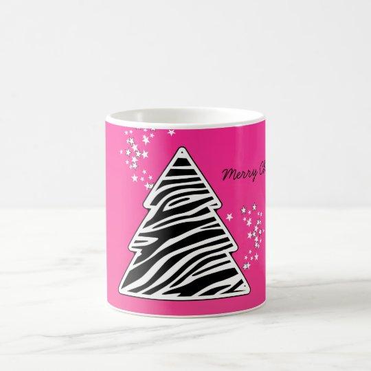 Pink zebra Christmas Tree Coffee Mug