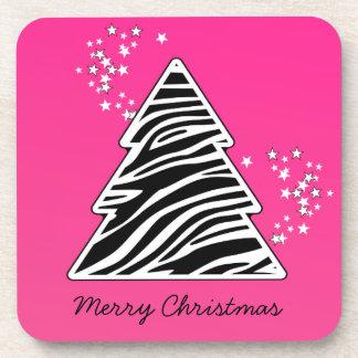 Pink zebra Christmas Tree Drink Coaster