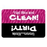 Pink Zebra Clean Dirty Dishwasher X3012 Rectangular Magnet