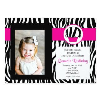Pink Zebra Cupcake Birthday Invitation