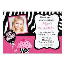 Pink Zebra Cupcake Girls Birthday Invitation