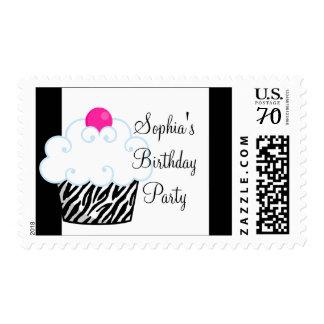 Pink Zebra Cupcake Pink Zebra Postage Stamps