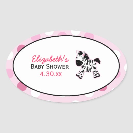 Pink Zebra Custom Oval Favor Sticker
