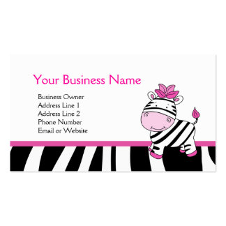 Pink Zebra Customizable Business Card Template