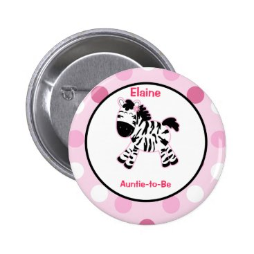 Pink Zebra Customized name tag Button