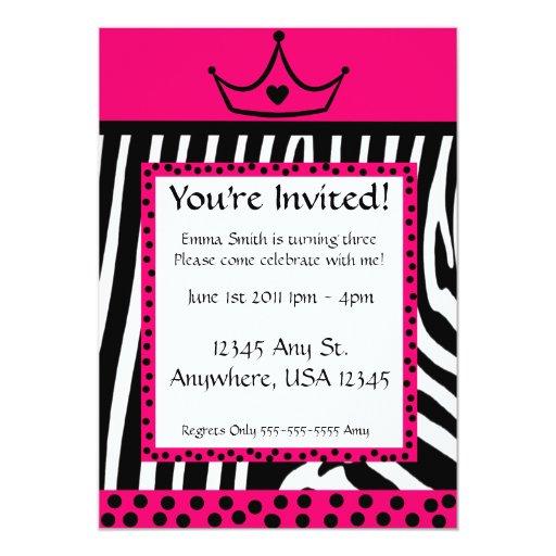 Pink Zebra Diva Birthday Card