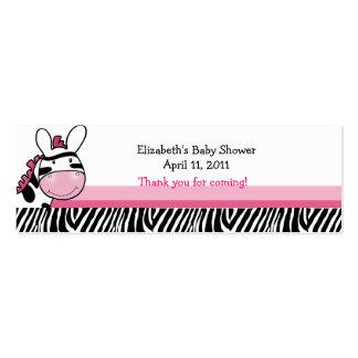 Pink Zebra Diva Stripe Shower / Birthday Favor Tag Mini Business Card