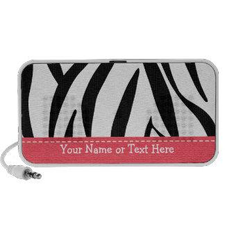 Pink Zebra Doodle Speakers Personalized