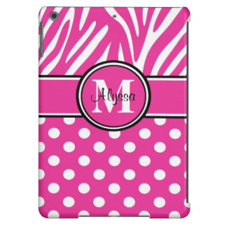 Pink Zebra Dots Personalized iPad Air Covers