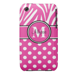 Pink Zebra Dots Personalized iPhone 3 Case
