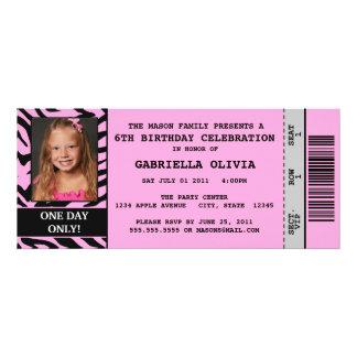 Pink Zebra Event Ticket Birthday Party Invitation