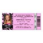 "Pink Zebra Event Ticket Birthday Party Invitation 4"" X 9.25"" Invitation Card"