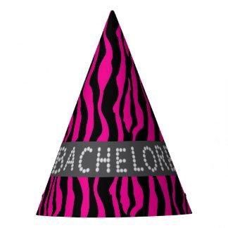 Pink Zebra Faux Diamond Bachelorette Hats