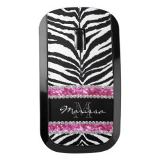 Pink Zebra Faux Glitter Bling Monogrammed Girly Wireless Mouse at Zazzle