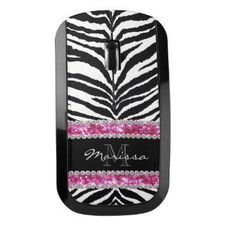 Pink Zebra Faux Glitter Bling Monogrammed Girly Wireless Mouse