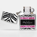 Pink Zebra Faux Glitter Bling Monogrammed Womens Zippo Lighter