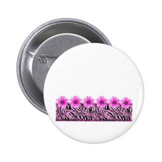 pink zebra flowers pinback button