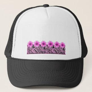 pink zebra flowers trucker hat