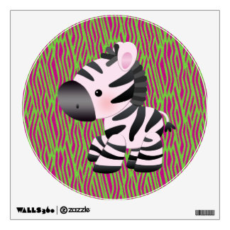 Pink Zebra & Funky Animal Print Wall Decal