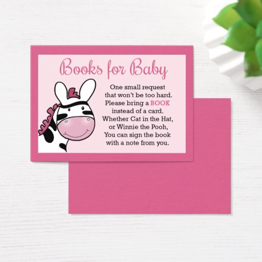 Pink Zebra Girl Baby Shower Book Request Cards