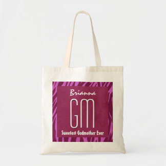 Pink Zebra Godmother Custom Name Tote Bag