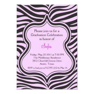 Pink Zebra Graduation Invitation Custom Color
