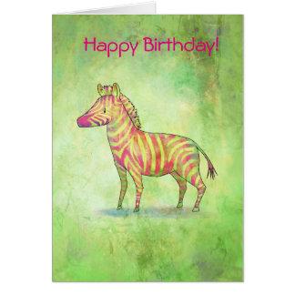 Pink zebra greeting card(customizable) card