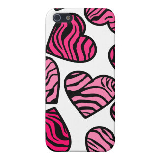 Pink zebra hearts  cover for iPhone 5