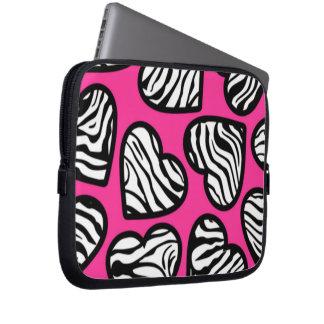 Pink Zebra hearts Laptop Sleeve