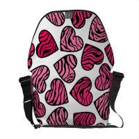 Pink Zebra hearts Messenger Bag rickshawmessengerbag
