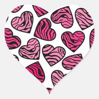 Pink zebra hearts sticker