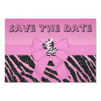 Pink Zebra & Hearts Wedding Save the Date Card