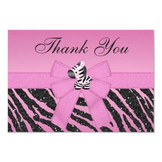 Pink Zebra & Hearts Wedding Thank You Cards