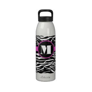 Pink Zebra Initial Liberty Bottle Water Bottles