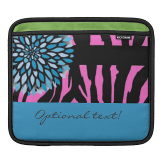 Pink zebra ipad sleeve blue flower custom!
