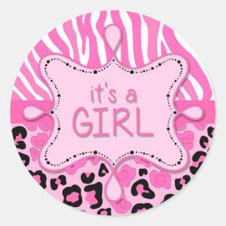 Pink Zebra It's a Girl Sticker