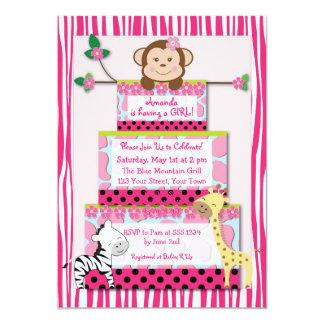 Pink Zebra Jungle Cake Baby Shower Invitation