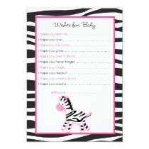 Pink Zebra Jungle Wishes for Baby Advice Cards