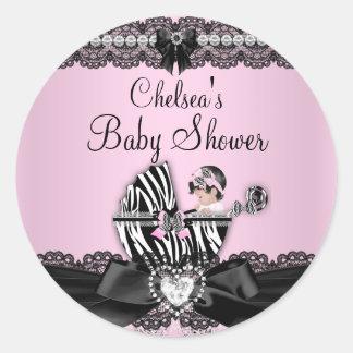 Pink Zebra & Lace Baby Shower Sticker