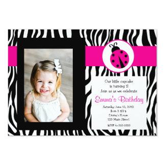 Pink Zebra Lady Bug Birthday Invitation