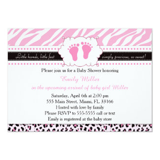 Pink Zebra Leopard Feet Baby Shower Invitation