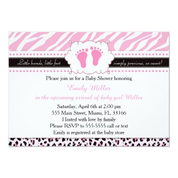 Toddler & Baby themed Pink Zebra Leopard Feet Baby Shower Invitation